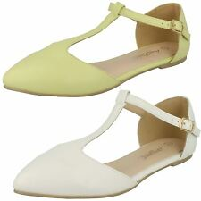 Ladies Anne Michelle Flat Casual Shoes / T-Bar / Buckle Ankle Strap Fastening