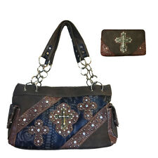 Rhinestone Cross Flower Leather Shoulder Handbag with Matching Wallet 5235