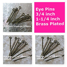Eye Pin 3/4 inch 1-1/4 inch Brass Plated Jewelry Findings