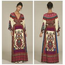 Vtg 70's Boho Hippie Gypsy Retro Ethnic Long Sleeve Evening Cocktail Maxi Dress