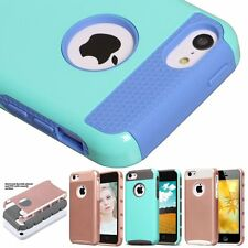 Hybrid Heavy Duty Back Rubber PC Hard Case Cover Skin For Apple iPhone 5C 5s SE