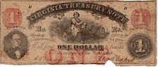 1862 Virginia $1 One Dollar Treasury Note Bill Confederate Civil War Currency!