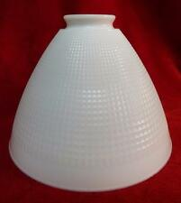 "VINTAGE WHITE MILK GLASS LAMP SCONCE SHADE WAFFLE PATTERN 8"" CORNING INDUSTRIAL"