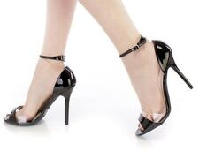 New Black Patent High Heel Sandals Ankle Strap Peep Toe Single Sole Womens Shoes