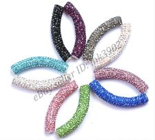 Curved Czech Crystal Rhinestones Pave Tube Bracelets Connector Charm Beads