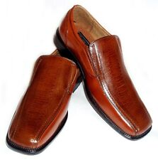 MENS LEATHER DRESS SHOES LOAFERS COMFORT SLIP ON OSTRICH CROCODILE PRINT / BROWN
