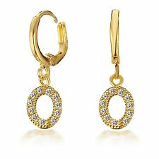 Gold Filled Swarovski Crystal Dangle Leverback Small Hoop Earrings 186-98