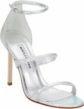 $995 New Manolo Blahnik Bombita SNAKE Silver Strappy Sandals BB Shoes 40 WEDDING