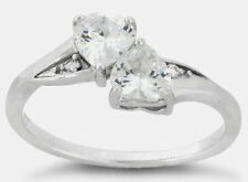 925 Sterling Silver Zirconia CZ Double Hearts Engagement Promise Ring Friendship