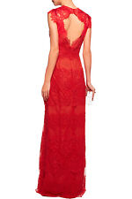 $1295 New Marchesa Notte Red embellished Corded lace tulle  Dress Gown  2 RARE
