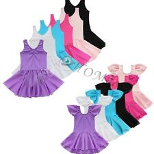 Girls Chiffon Gymnastics Ballet Dance Dress Leotard Tutu Skirt Dancewear Costume