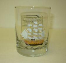 "2pc MAYFLOWER Themed High Ball Gold-Tone Etched Embossed Glasses 4"" x 3 1/8"""
