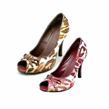 Ladies Patterned Satin peep toe high heel court shoes
