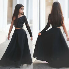 2016 New Two Piece Satin/Lace graduation Party Prom Black Flowe Girl Dress 3-14