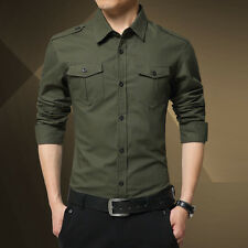 Casual Men's Cotton Long Sleeve Epaulet Shirts  Formal Tops Slim Fit Tops Tee