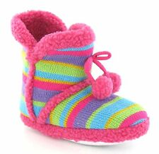 Unbranded X2038 Ladies/Girls Fuchsia Multi Striped Pull On Textile Boot Slippers