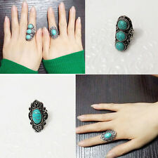 New Fashion Antique Silver Oval Charm Carved Turquoise Adjustable Rings Jewelry