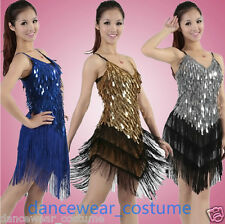 Ladies Club Party Ballroom Latin Salsa Competition Dance Dress Fringe Skirt 9Co.