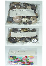 CRAFT BUTTONS PACKS OF 100 / 175 VARIOUS COLOURS & WEIGHTS JOBLOT PACKS