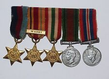 5 WWII BRITISH MEDALS,ITALY,AFRICA,1939-42 STARS,WAR,DEFENSE MEDALS