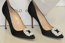 $965 NEW MANOLO BLAHNIK HANGISI Pearl Pearly-Buckle Satin BLACK Pumps 40.5