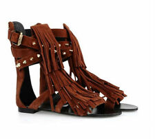 2016 womens Tassel fringe sandals Real Leather suede ankle boots Roman shoes sz