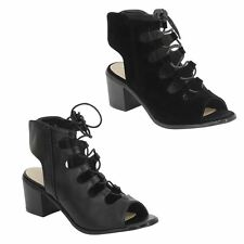 New Ladies Womens Lace Up Open Toe Gladiator Sandals Boots Size 3-8