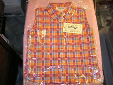 Krazy Kat Girls Sleeveless Shirt Plaid Orange New Cowgirl Rodeo