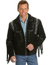 Mens Scully Leather Western wear Black Suede Leather Jacket Fringe Bead & Bones
