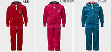 Girls Crimson Red Blue Velvet Tracksuit RED SEVEN Top Hoodie Joggers  6-16 Years
