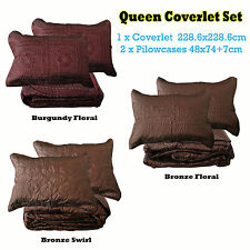 3 Pce QUEEN Faux Silk Quilted Embroidery Bedspread / Coverlet + 2 Pillowcases