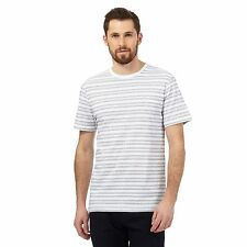 J By Jasper Conran Mens Big And Tall White Textured Dot Stripe Print T-Shirt