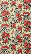 Alexander Henry The Rose Tattoo Cream Skull fabric Vintage FQ rockabilly