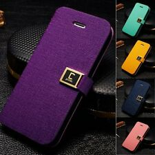 PU Leather Flip Wallet Card Sloct Stand Pouch Case Cover for Apple iPhone4 5s SE