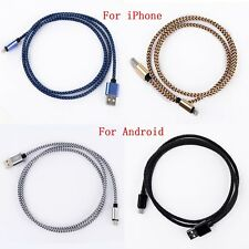 1M Braided Aluminum USB Data Sync Charger Cable Cord for iPhone 5 6 Samsung HTC