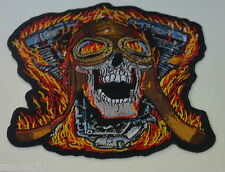 SKULL FLYING HELMET EMBROIDERED CLOTH SEW IRON ON PATCH BADGE BIKER  MOTORCYCLE