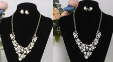 Faux Pearl Rhinestone Necklace and Earring Jewelry Set for Evening Party Prom