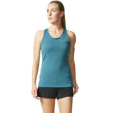 Adidas Womens Blue Climachill Running Gym Slim Fit Sports Vest Tank Top