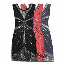 FLAPPER CHARLESTON GATSBY VTG 1920's EMBELLLISHED SEQUIN BEADED DRESS NEW 8 - 16