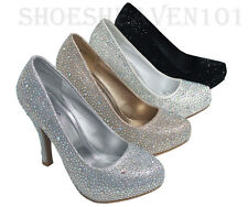 Women Evening Dress Shoes Rhinestones High Heels  Pumps Prom shoes lucy06