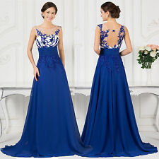 Women Chiffon Blue Long Evening Party Cocktail Ball Gown Prom Bridesmaid Dress
