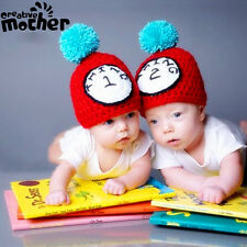 Twin Baby Boy Girl Clock Child Knit Hat Cap Newborn Photo Prop Crochet Costume