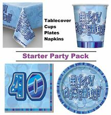 Blue Glitz 40th Happy Birthday 8-48 Guest Starter Party Pack Cups Plates Napkins
