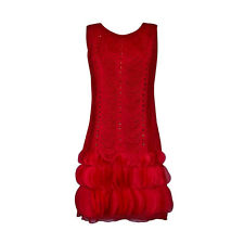 1920's Vintage Style Fringed Flapper Dress Great Gatsby Women's Costume Red