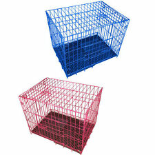 Collapsible 2 Door Extra Solid Metal Wire Dog Puppy Animal Cage Tray Kennel
