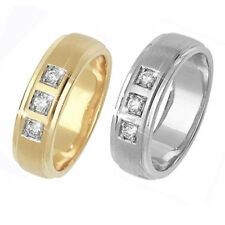 9ct Wedding Ring Yellow Or White Gold- Set with 3 Diamonds (0.12ct Total)