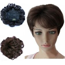 Hand Weave Human Hair Womens Black/Brown Curly Top Piece Toupee Hair Extension