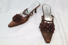 John Fashion A2009 Brown Satin Bead Slingback Pointed Toe Shoes Size 7,9 New