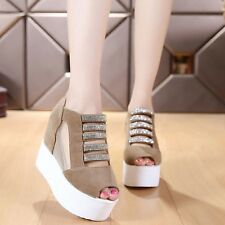 Summer Womans Wedge Heels Creeper Ankle Strap Roman Platform Sandals Shoes Pumps