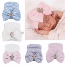 Baby Soft Hospital Cap Newborn Girl Toddler Stripe Bowknot Beanie Hat Photo Prop